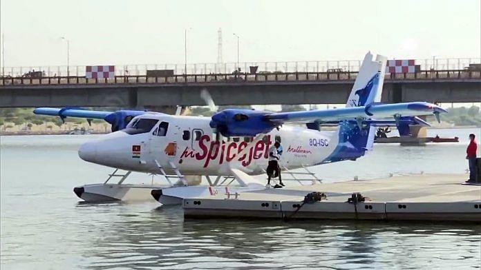 A file photo of a seaplane in Gujarat.   Photo: ANI