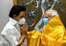 Prime Minister Narendra Modi with Tamil Nadu Chief Minister and DMK chief MK Stalin during a meeting in New Delhi, on 17 June 2021