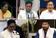 (Clockwise) Pratima Bhoumik, Sarbananda Sonowal, Rajkumar Ranjan Singh, Rameshwar Teli and Kiren Rijiju — the five BJP leaders from the Northeast who have been named ministers in the Modi government. | Photo: ANI