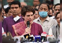 AICC General Secretary Priyanka Gandhi Vadra addresses a press conference at the party office in Lucknow Friday, on 16 July 2021 | PTI