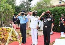 File photo of Indian Army, Navy and Air Force personnel paying tributes to field Marshal SHFJ Manekshaw on his 12th death anniversary in June 2020   ANI