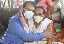 File photo of MLA Akhil Gogoi with his mother at Selenghat village in Assam's Jorhat, after an NIA court granted him 2-day parole in June 2021   Photo: PTI