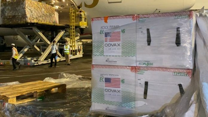 A consignment of Covid vaccines, sent by the US via the WHO-backed initiative Covax, arrives in Bangladesh on 3 July | Twitter | @USAmbBangladesh