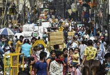 Crowd at Sadar Bazar market after authorities eased Covid-induced restrictions in New Delhi, 14 June 2021 | PTI