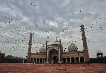 Pigeons fly as Jama Masjid wears an almost deserted look on the occasion of Eid al-Adha, in New Delhi | Suraj Singh Bisht | ThePrint