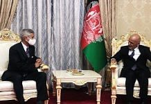 (File image) Union Minister of External Affairs S Jaishankar (left) meets Afghanistan President Ashraf Ghani (right) in Dushanbe, on 29 March 2021 | Twitter