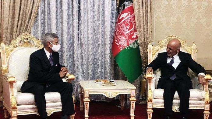 (File image) Union Minister of External Affairs S Jaishankar (left) meets Afghanistan President Ashraf Ghani (right) in Dushanbe, on 29 March 2021   Twitter