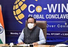 Union Health Minister Dr Harsh Vardhan addresses the inaugural session of the Co-WIN Global Conclave, in New Delhi on 5 July 2021. He resigned from his position on 7 July 2021 | PTI