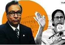 Former IAS officer Jawhar Sircar (left) was nominated by West Bengal CM Mamata Banerjee (right) to the Rajya Sabha | Graphic by Soham Sen | ThePrint