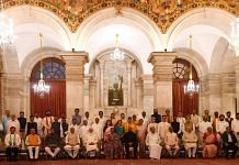 Prime Minister Modi and President Kovind with the new ministers who took oath on 7 July 2021 | Twitter