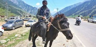 Farooq Ahmed Bhatt (40) is among the porters who offer tourists horse rides around Sonmarg   Praveen Jain   ThePrint