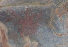 A specimen of the paleolithic paintings found in the Aravallis   By special arrangement