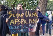 A protest against UAPA, AFSPA, NSA in New Delhi