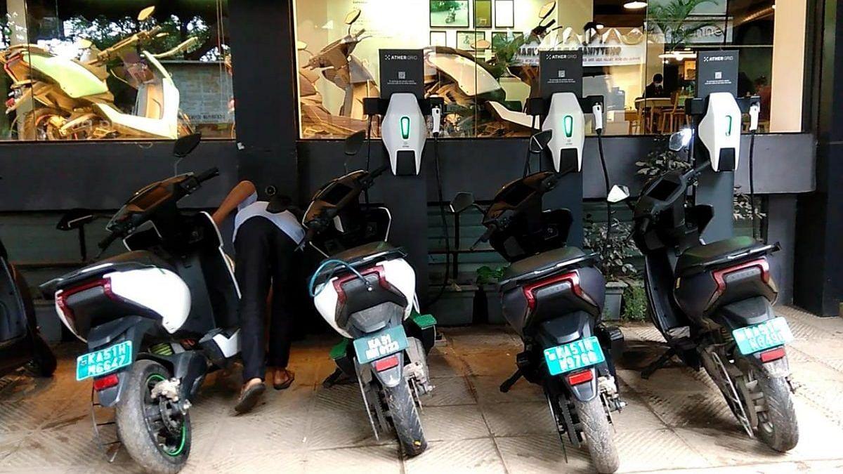 Ather scooters at the charging point in Bengaluru   Photo: Angana Chakrabarti/ThePrint