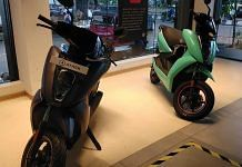 Ather Energy's electric scooters at its experience centre in Bengaluru's Indiranagar | Photo: Angana Chakrabarti/ThePrint