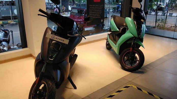 Ather Energy's electric scooters at its experience centre in Bengaluru's Indiranagar   Photo: Angana Chakrabarti/ThePrint