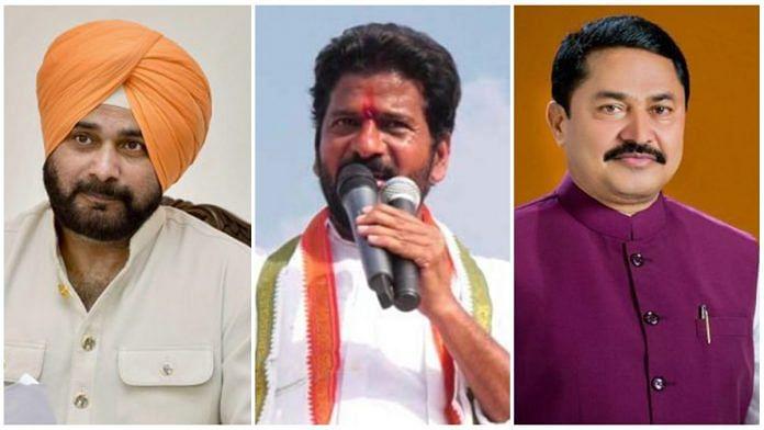 (L-R) Punjab Congress chief Navjot Singh Sidhu, Telangana Congress chief Revanth Reddy, Maharashtra Congress chief Nana Patole   Photos via PTI/Twitter