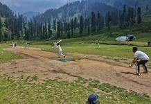 The match between Youngster XI Chimmar and Super King Ahmedabad at Pachanpathri village in South Kashmir's Kulgam district | Photo: Praveen Jain