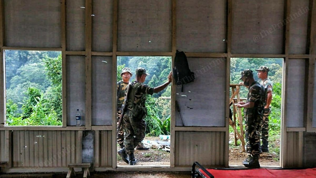 Bullet holes at one of the three posts of the Mizoram Police   Photo: Praveen Jain