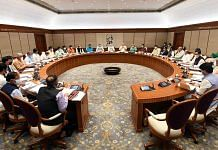 Prime Minister Narendra Modi holds a meeting with the new Union Cabinet at his official residence, in New Delhi, on 14 July 2021| ANI Photo
