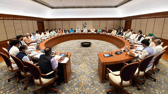 Prime Minister Narendra Modi holds a meeting with the new Union Cabinet at his official residence, in New Delhi, on 14 July 2021  ANI Photo