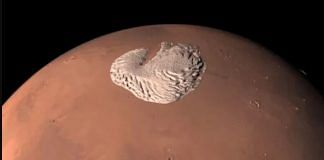 A screengrab from an animation of the Martian poles with ice caps. | Credit: ESA