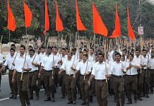 Representative Image | RSS members march with the saffron flag | Wikimedia Commons