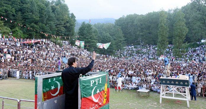 Imran Khan at a rally in Tarar Khal, 'AJK', July 2021   Facebook