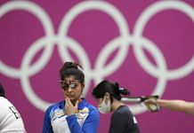 Shooter Manu Bhaker during the 10m Air Pistol Women's Qualification at the Summer Olympics 2020, in Tokyo, on 25 July 2021