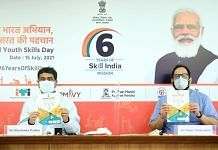 Union Minister for Skill Development and Entrepreneurship Dharmendra Pradhan and Minister of State Rajeev Chandrasekhar at the World Youth Skills Day. | Photo: Twitter/@drpradhanbjp