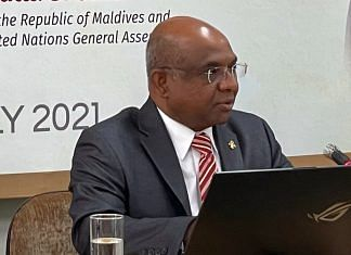 Foreign Minister of Maldives and UNGA president-elect Abdulla Shahid in New Delhi, on 23 July 2021   Twitter/@abdulla_shahid