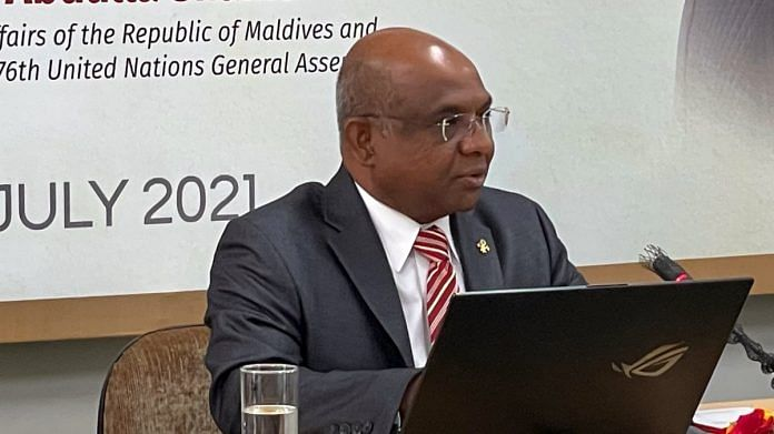 Foreign Minister of Maldives and UNGA president-elect Abdulla Shahid in New Delhi, on 23 July 2021 | Twitter/@abdulla_shahid