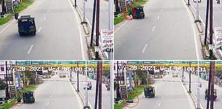 A composite of screenshots from CCTV footage showing the suspected accident that killed judge Uttam Anand in Dhanbad last week | Via ANI