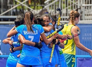 India's women's hockey team celebrates after qualifying for the Olympic Games semifinals for the first time, at the 2020 Summer Olympics in Tokyo, on 2 August, 2021 | PTI