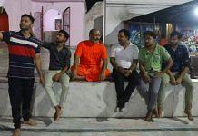 Yati Narsinghanand Saraswati with devotees at the Dasna Devi temple in Ghaziabad | Photo: Manisha Mondal/ThePrint