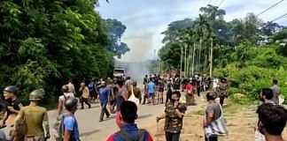 File photo of clashes breaking out at the Assam-Mizoram border on 26 July, 2021 | ANI