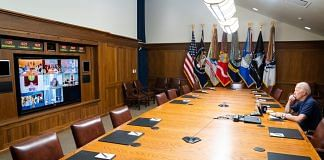 US President Biden and Vice-President Harris met with their national security team and senior officials to hear updates on Kabul, 16 Aug 2021   Twitter/@WhiteHouse