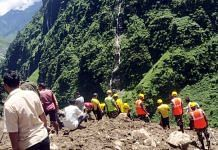 SDRF personnel conduct a search for survivors during a rescue operation after a cloudburst hit the parts of Jumma village, at Dharchula, in Uttarakhand's Pithoragarh, on 30 August 2021 | ANI photo