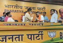 Former Manipur Congress president Govindas Konthoujam (fourth from right) joins BJP at BJP HQ, New Delhi on 1 August, 2021   Twitter/@RanjanRajkuma11