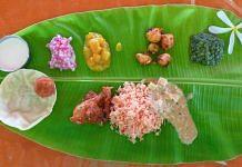 Indian food on banana leaf
