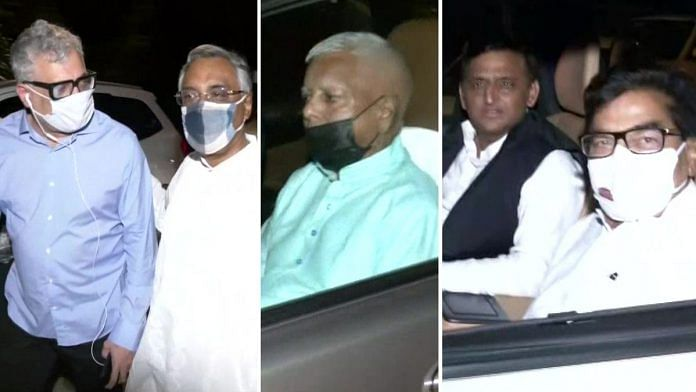 A host of opposition leaders, including Trinamool Congress' Derek O'Brien, RJD's Lalu Yadav and Samajwadi Party chief Akhilesh Yadav, were among those who attended a dinner party hosted by Kapil Sibal in New Delhi on 9 August 2021 | ANI