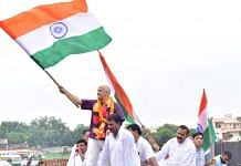 Aam Aadmi Party leaders during the party's Tiranga Yatra in Agra, on 29 August 2021 | Twitter/@msisodia