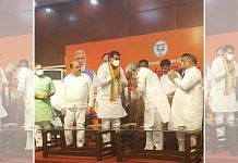 Jitendra Singh Bablu (third from left) with UP BJP chief Swatantra Dev Singh (bowing) while joining the party in Lucknow Wednesday   By special arrangement