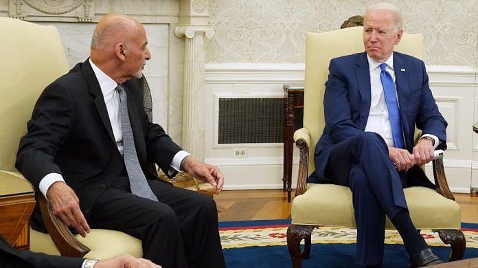 File photo   Afghanistan President Ashraf Ghani and Chairman Adullah Abdullah meet US President Joe Biden at the White House, July 2021   Twitter/@USAIDAfghan
