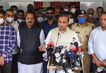 Assam CM Himanta Biswa Sarma interacts with media after visiting the police personnel injured in a clash at Assam-Mizoram border, on 27 July 2021   PTI