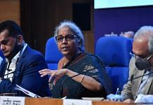 Finance Minister Nirmala Sitharaman at the launch of the National Monetisation Pipeline (NMP) in New Delhi on 23 August 2021.   Photo: ThePrint