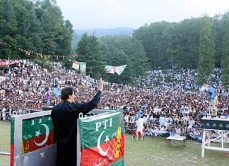 File photo of Pakistan PM Imran Khan at a rally in Tarar Khal, Pakistan-occupied-Kashmir in July 2021 | Facebook