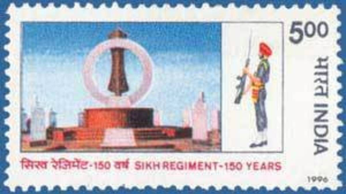 A postal stamp released in 1996 to mark 150 years of the Sikh Regiment | Wikimedia Commons