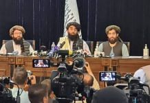 Representational Image   Taliban spokesperson Zabihullah Mujahid (middle) during a press conference in Afghanistan, on 17 August 2021   Twitter/@paykhar