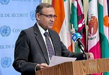 TS Tirumurti, India's Permanent Representative to the UN, briefing the media on his first day as President of the UNSC, on 3 August 2021 | Twitter/@ambtstirumurti